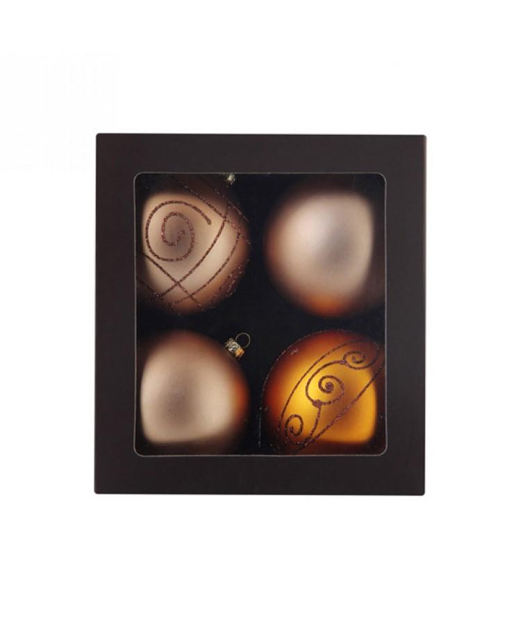 Selection of 8cm Baubles in golden tones-1198