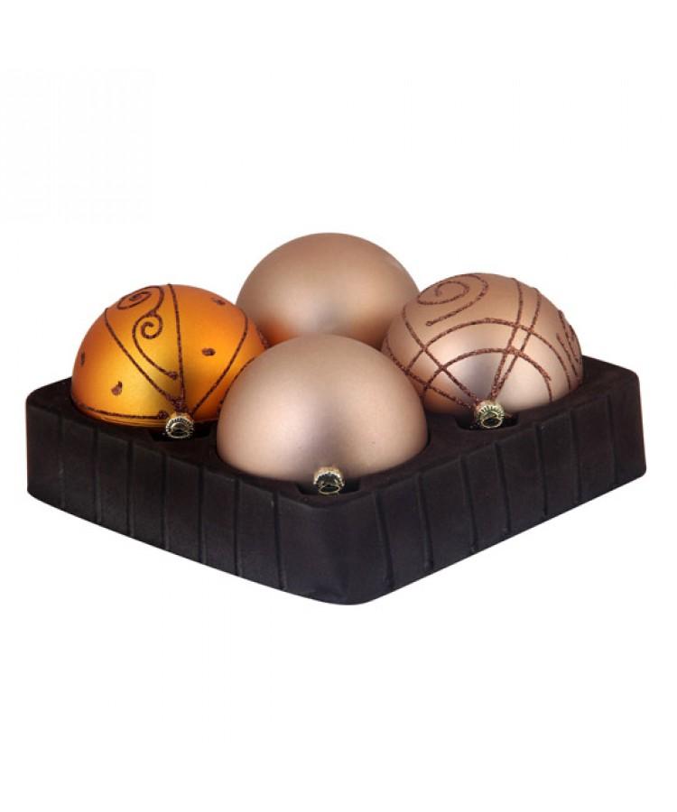 Selection of 8cm Baubles in golden tones-0