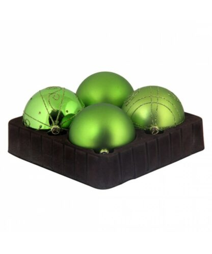 Selection of 8cm Baubles in green tones-0