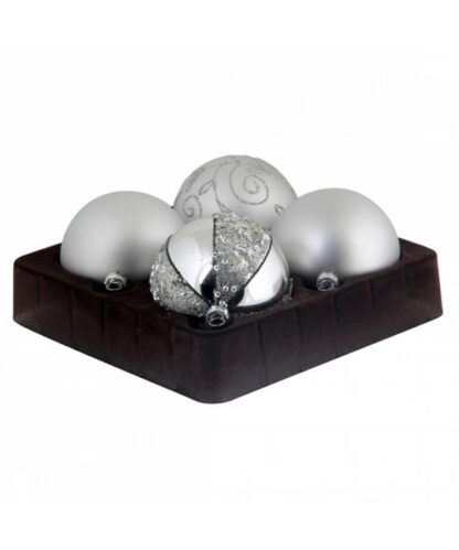 Selection of 7cm Baubles in silver tones-0