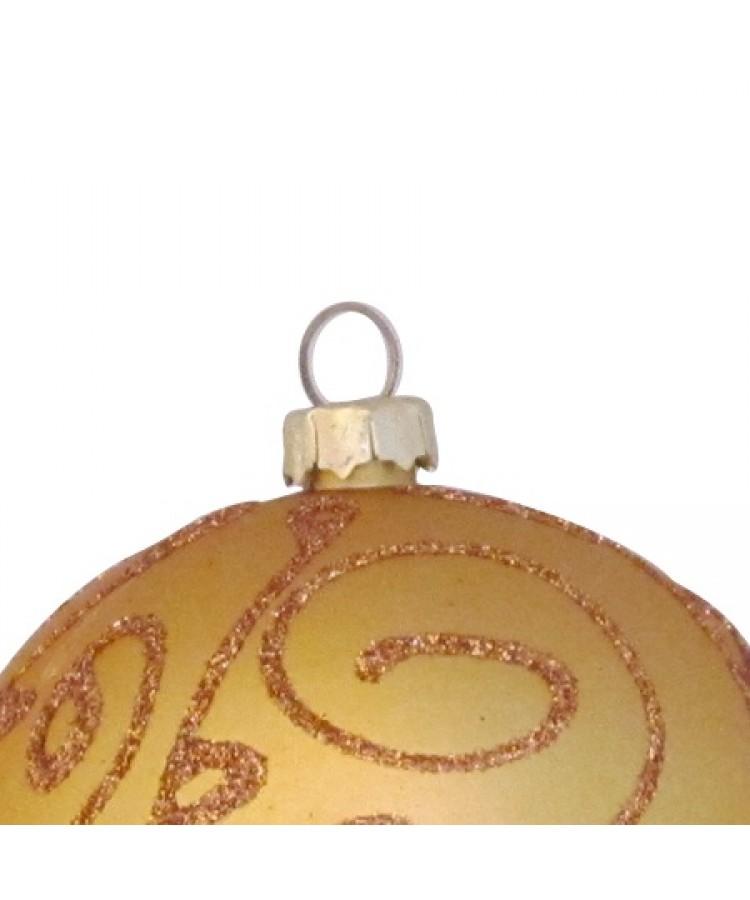 Selection of 7cm Baubles in golden tones-1144