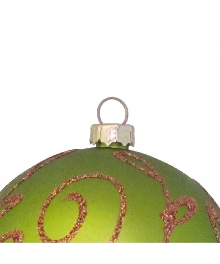 Selection of 7cm Baubles in green tones-1130