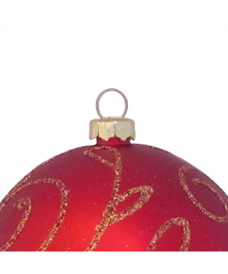 Selection of 7cm Baubles in red tones-1136