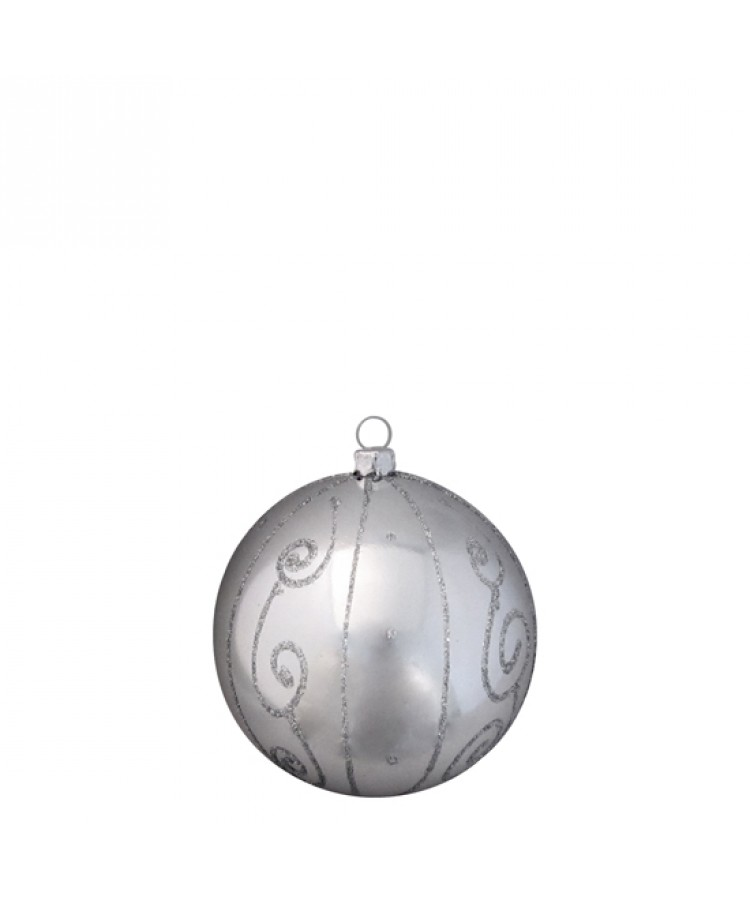 Selection of 8cm Baubles in silver tones-1173