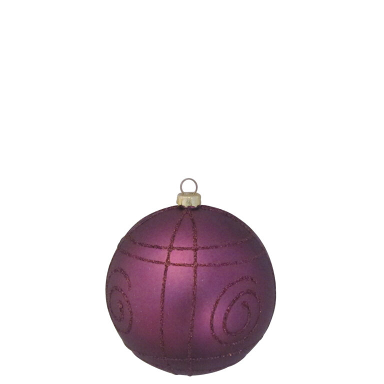 Selection of 8cm Baubles in purple tones-1531